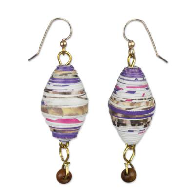 Handmade Recycled Paper and Wood Dangle Earrings from Ghana
