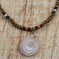 Recycled paper and wood beaded pendant necklace, 'Eco-Friendly Glory' - Recycled Paper and Sese Wood Necklace Crafted in Ghana