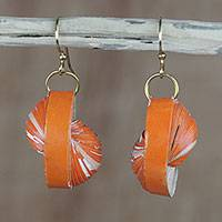 Recycled paper dangle earrings, 'Orange Glory' - Orange Recycled Paper Dangle Earrings from Ghana