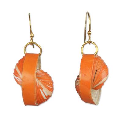 Orange Recycled Paper Dangle Earrings from Ghana