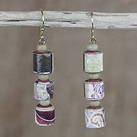 Recycled paper and wood dangle earrings, 'Naa Araa Royalty' - Recycled Paper and Sese Wood Dangle Earrings from Ghana