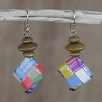 Recycled paper and wood dangle earrings, 'Happy Soul' - Multicolored Recycled Paper and Wood Earrings from Ghana