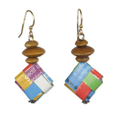 Multicolored Recycled Paper and Wood Earrings from Ghana