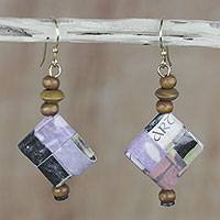 Recycled paper and wood dangle earrings, 'Good-Natured' - Artisan Crafted Recycled Paper and Wood Earrings from Ghana