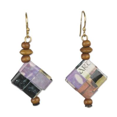 Artisan Crafted Recycled Paper and Wood Earrings from Ghana