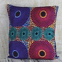 Cotton cushion cover, 'Color Spin' - Multi-Color African Circle Motif Cotton Cushion Cover