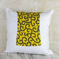 Cotton cushion cover, 'Saffron Vines' - Saffron and Cool White Cotton Cushion Cover from Ghana