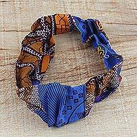 Cotton headband, 'Earth and Sky' - Handcrafted Blue and Brown Cotton Print Ghanaian Headband