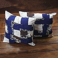 Cotton cushion cover, 'African Criss-Cross' - Blue and White West African Cotton Print Cushion Cover