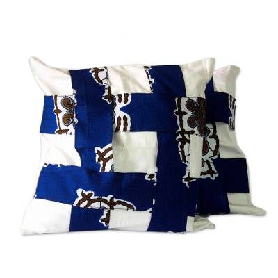 Blue and White West African Cotton Print Cushion Cover