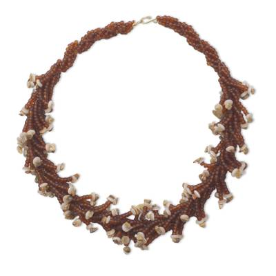 Chocolate and Tan Recycled Beaded Glass Statement Necklace