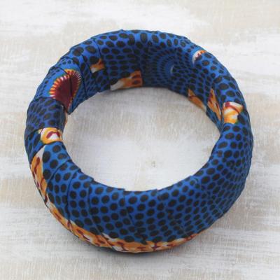 Novica Cotton bangle bracelet, Bright Life