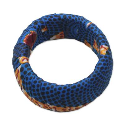 Artisan Crafted Wood Bangle Bracelet Wrapped in Blue Cotton Cloth