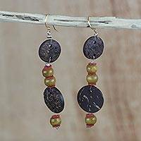 Coconut shell and bamboo beaded dangle earrings, 'Natural Comfort' - Coconut Shell, Bamboo, and Recycled Plastic Beaded Earrings
