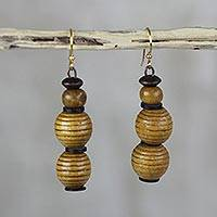 Wood dangle earrings, 'Good Nature' - Sese Wood and Recycled Plastic Earrings from Ghana