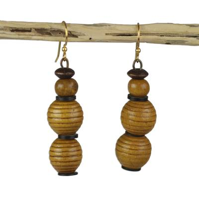 Sese Wood and Recycled Plastic Earrings from Ghana