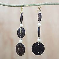 Coconut shell and recycled plastic beaded dangle earrings, 'Natural Trio' - Coconut Shell and Recycled Plastic Beaded Dangle Earrings