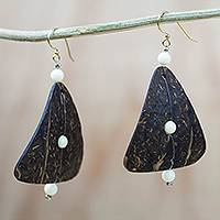 Coconut shell and recycled plastic beaded dangle earrings, 'Natural Triangle' - Coconut Shell and Recycled Plastic Beaded Dangle Earrings