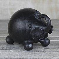 Ceramic figurine, 'Jovial Elephant' - Black Ceramic Jovial Elephant Decorative Sculpture