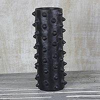 Ceramic decorative vase, 'Abstract Cactus' - Industrial Abstract Ceramic Black Cylinder Vase from Ghana