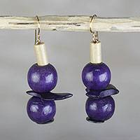 Wood and coconut shell dangle earrings, 'Inner Greatness' - Eggplant Sese Wood and Coconut Shell Dangle Earrings