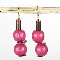 Wood and coconut shell dangle earrings, 'Strawberry Allure' - Handmade Pink Sese Wood and Coconut Shell Dangle Earrings