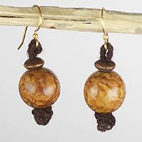 Sese wood dangle earrings, 'Great Forest' - Handcrafted Sese Wood Stacked Minimalist Dangle Earrings