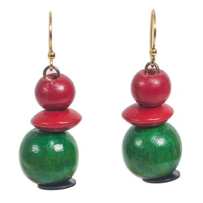Red and Green Sese Wood Recycled Plastic Dangle Earrings