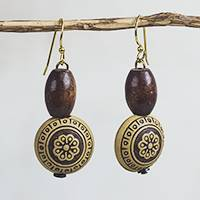 Wood and recycled plastic dangle earrings, 'Loyal Blooms' - Sese Wood and Recycled Plastic Floral Dangle Earrings