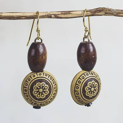 Wood and recycled plastic dangle earrings, Loyal Blooms