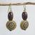 Wood and recycled plastic dangle earrings, 'Loyal Blooms' - Sese Wood and Recycled Plastic Floral Dangle Earrings thumbail