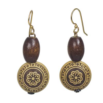 Wood and recycled plastic dangle earrings, 'Loyal Blooms' - Sese Wood and Recycled Plastic Floral Dangle Earrings