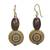 Wood and recycled plastic dangle earrings, 'Loyal Blooms' - Sese Wood and Recycled Plastic Floral Dangle Earrings (image 2a) thumbail