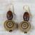 Wood and recycled plastic dangle earrings, 'Loyal Blooms' - Sese Wood and Recycled Plastic Floral Dangle Earrings (image 2b) thumbail