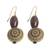 Wood and recycled plastic dangle earrings, 'Loyal Blooms' - Sese Wood and Recycled Plastic Floral Dangle Earrings (image 2c) thumbail