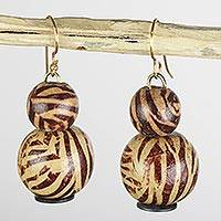 Wood and recycled plastic dangle earrings, 'Zebra Allure' - Brown Zebra Sese Wood and Recycled Plastic Dangle Earrings