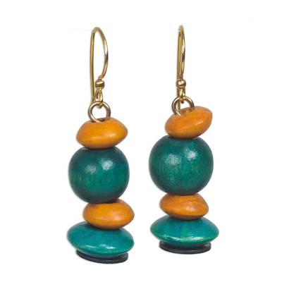 Orange and Turquoise Stacked Sese Wood Dangle Earrings