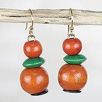 Wood dangle earrings, 'Boho Stacks' - Green and Orange Stacked Sese Wood Beaded Dangle Earrings