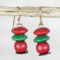 Wood dangle earrings, 'Boho Pebbles' - Red and Green Stacked Sese Wood Beaded Dangle Earrings