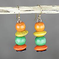 Wood and recycled plastic dangle earrings, 'Tropical Grove' - Orange Yellow and Green Sese Wood Beaded Dangle Earrings