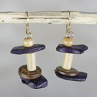 Wood and coconut shell dangle earrings, 'Coconut Stacks' - Coconut Shell and Sese Wood Beaded Stacked Dangle Earrings