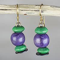 Wood dangle earrings, 'Grape Vineyard' - Purple and Green Sese Wood Beaded Dangle Earrings
