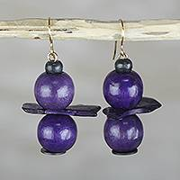 Wood and coconut shell dangle earrings, 'Grape Harvest' - Purple Sese Wood Coconut Shell Stacked Dangle Earrings