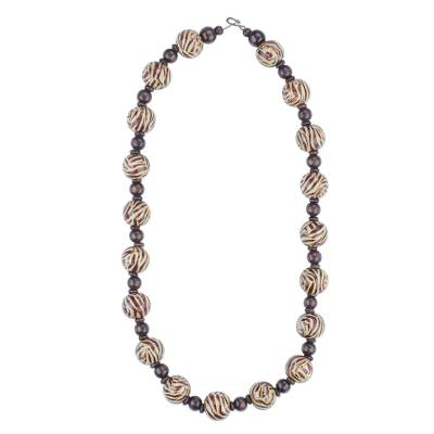 Wood beaded necklace, 'Tiger Chic' - Solid and Brown Striped Round Wood Bead Long Necklace