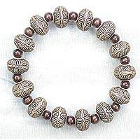 Sese wood beaded stretch bracelet, 'Kindness' - Sese Wood and Recycled Plastic Beaded Stretch Bracelet