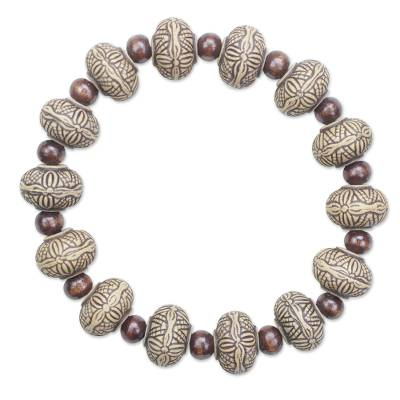 Sese wood beaded stretch bracelet,