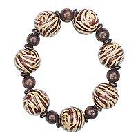 Wood beaded bracelet, 'Chestnut Delight' - Handmade Sese Wood Chestnut Delight Beaded Stretch Bracelet