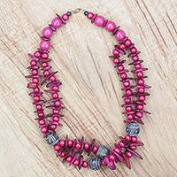Ceramic and wood beaded necklace, 'Love and Understanding' - Pink Beaded Necklace with Ceramic Wood and Coconut Shell