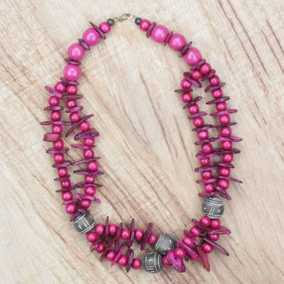 Novica Ceramic and wood beaded necklace, Love For Africa