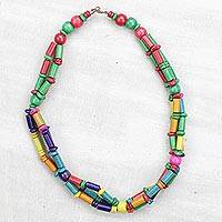 Bamboo and wood beaded necklace, 'Candy Shop' - Multi-Colored Sese Wood and Bamboo Beaded Necklace